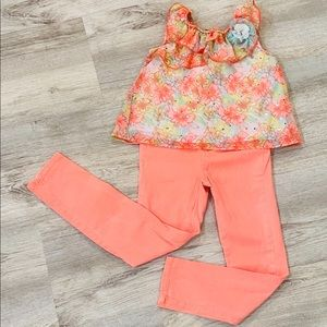 Gorgeous Floral Top & Orange Pants